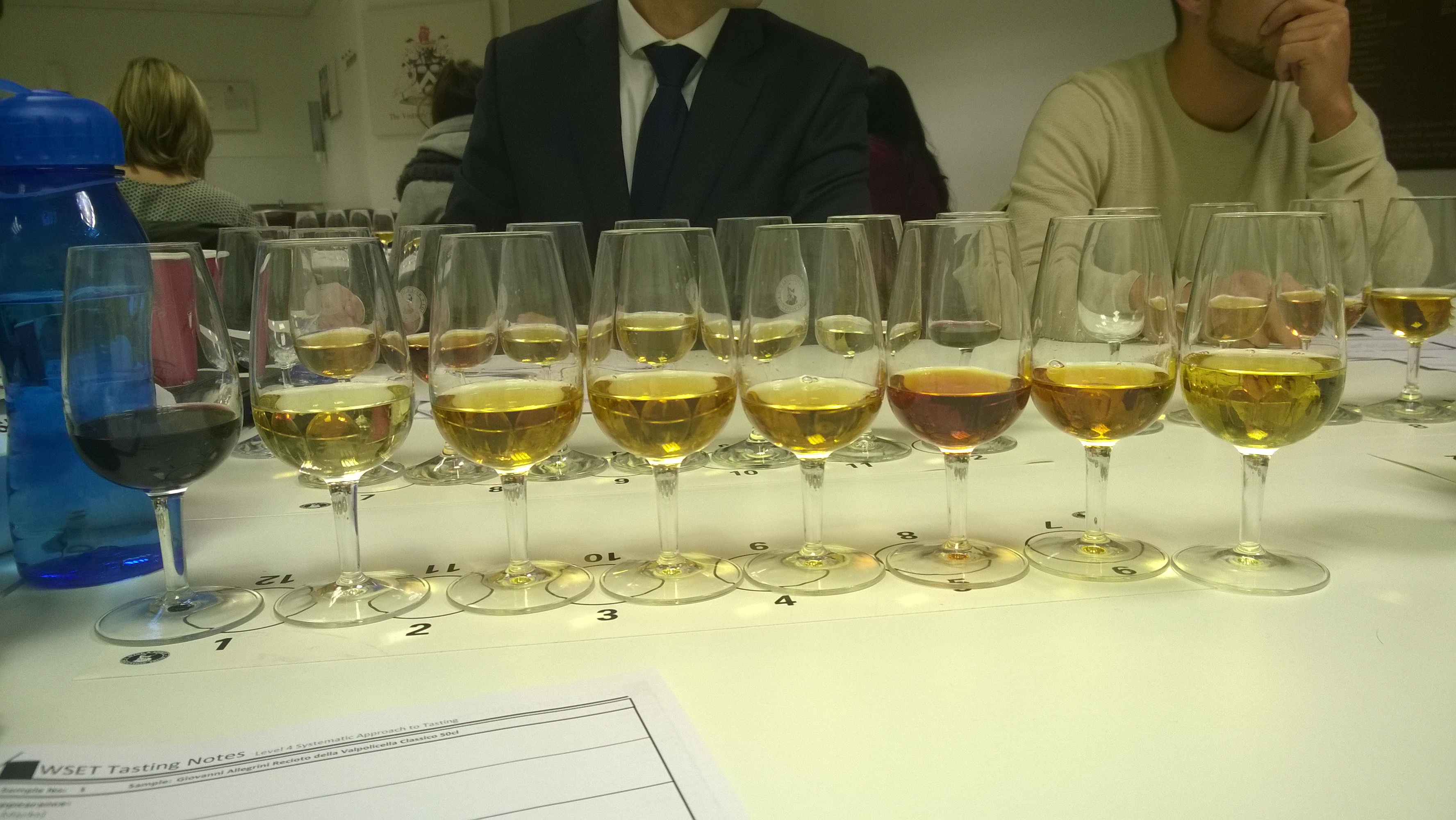 Sweet wines at WSET Diploma tasting.