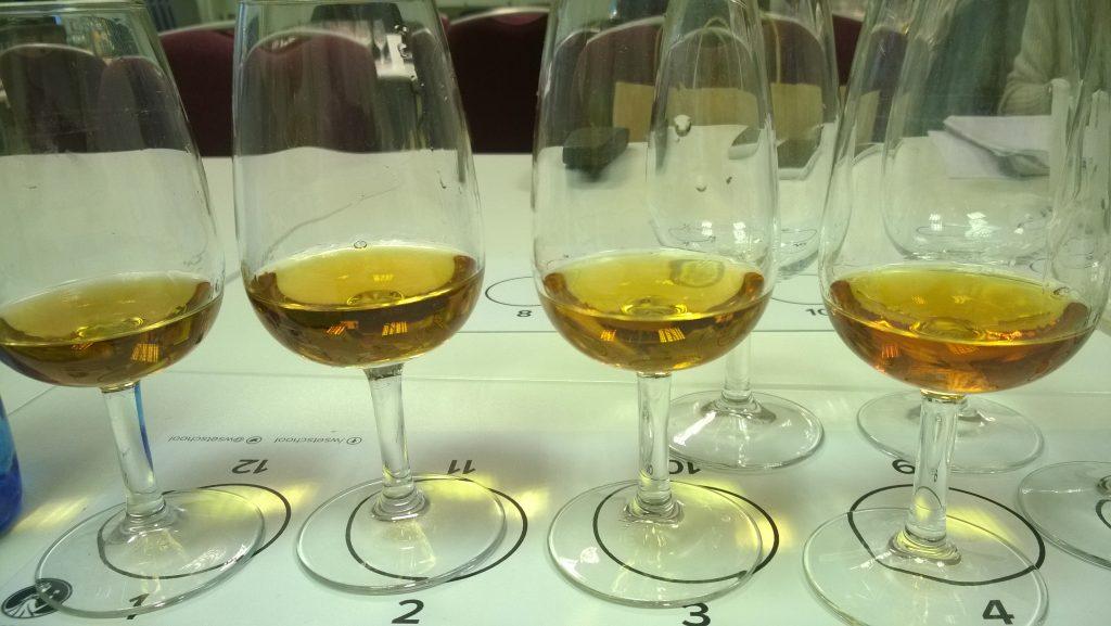 Four tasting glasses of Cognac